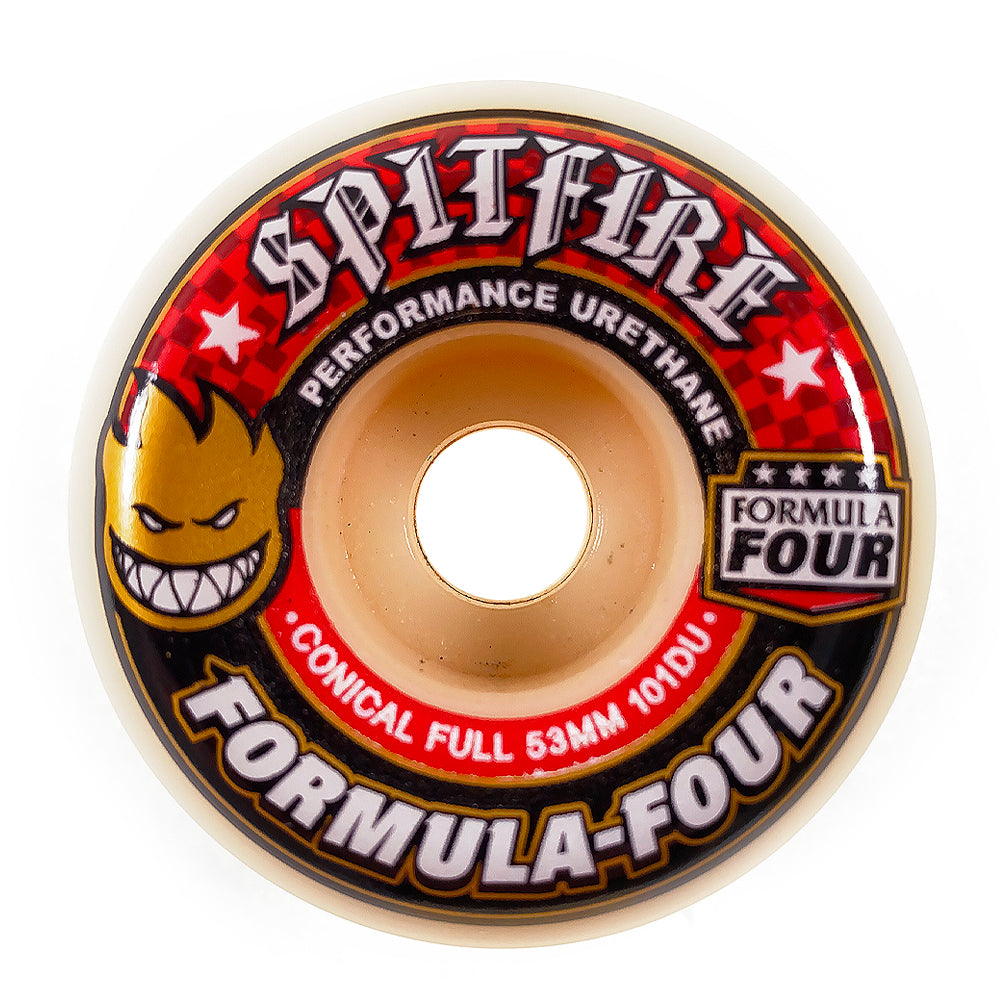 Spitfire - 53mm - Formula Four Wheels Conical Full 101 - Red / Natural - Prime Delux Store