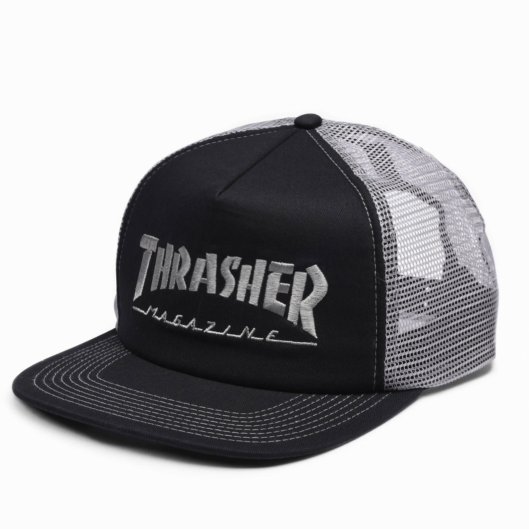 Thrasher Embroidered Logo Mesh Cap Black / Grey - Prime Delux Store