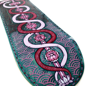 "Load image into Gallery viewer, The Drawing Boards - 8.1"" - Caduceus and the 7 Lotuses - Skateboard Deck - Prime Delux Store"