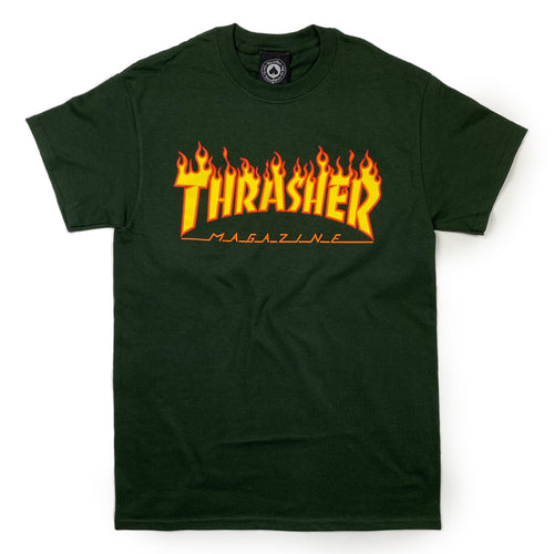 Thrasher Flame Logo T Shirt - Forest Green - Prime Delux Store