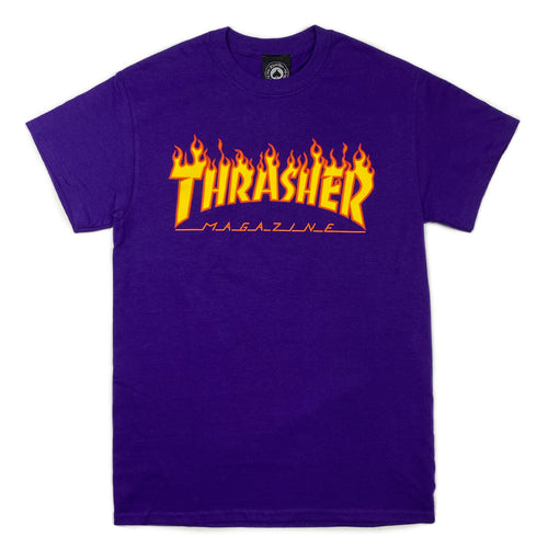 Thrasher Flame Logo T Shirt - Purple - Prime Delux Store