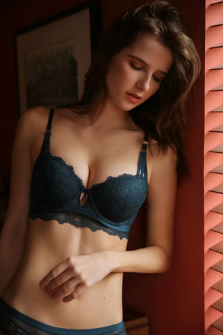 navy blue color everyday bra casual cotton lace laces lacy flora flower sexy pretty cute strap comfortable comfort sensual hook secrets affair