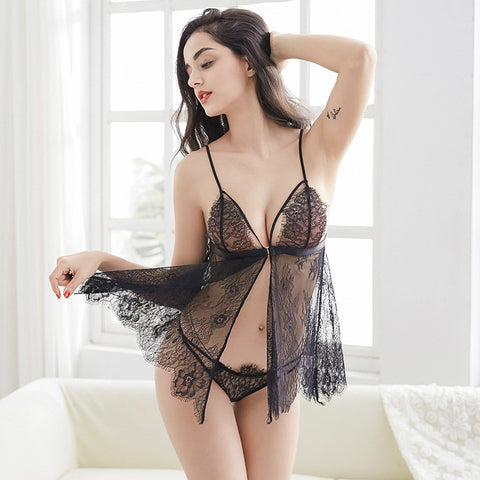 black bra dress nightwear sexy seduction lace flower design ribbon veil secrets affair