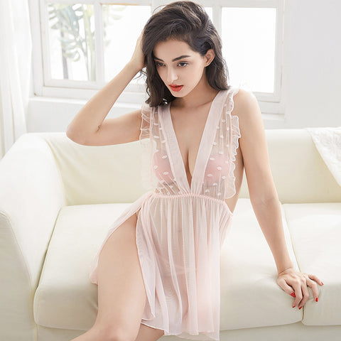 Venus snow white dress one piece veil lace sexy translucent nightwear seduction secrets affair