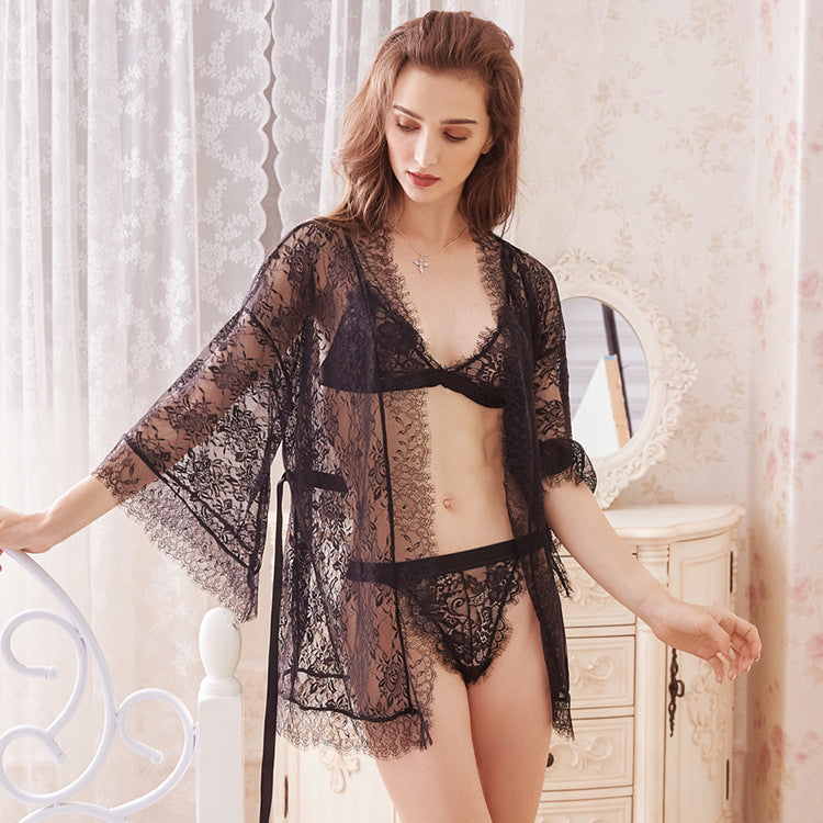 Willow lace black sheer two piece robe nightwear veil translucent flower lace sexy seduction secrets affair