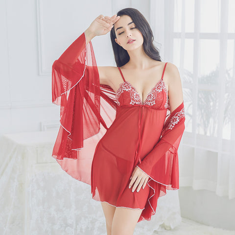 Qandisa - Florine wine red one piece robe veil lace flower ruffle silk nightwear seduction secrets affair