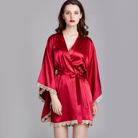 Qandisa - Scarlet wine red japanese kimono robes lace nightwear seduction sexy secrets affair
