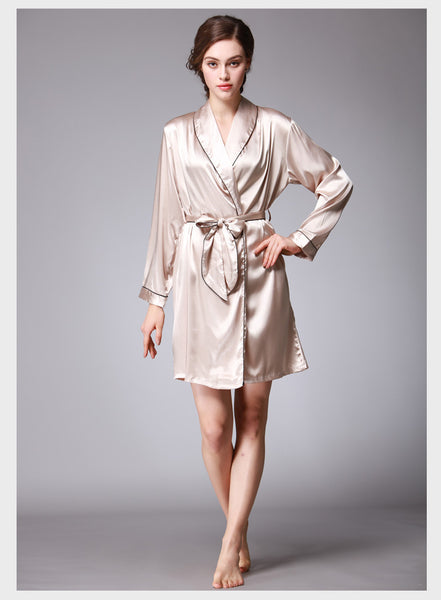 Dancė nude beige natural color skin tone one piece robe silk nightwear seduction secrets affair