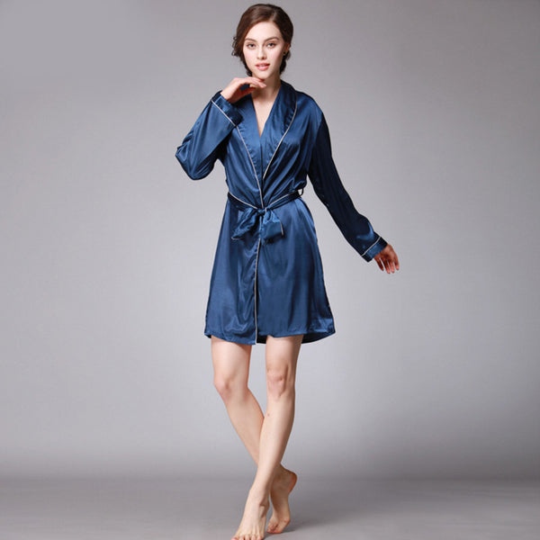 Qandisa - Dancė navy dark blue one piece robe silk nightwear seduction secrets affair
