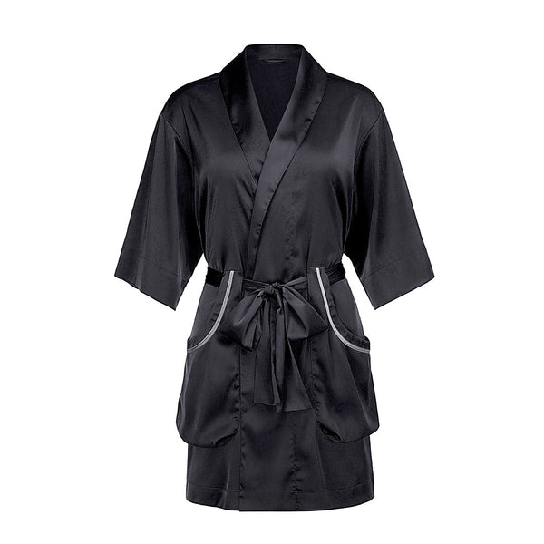 Qandisa - Maya black bathrobes robes nightwear sexy secretsaffair