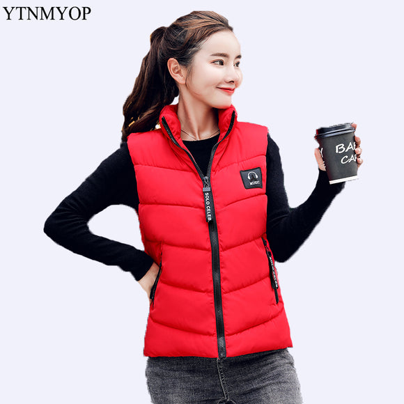 Down Cotton Vest Women Outerwear Sleeveless Jacket