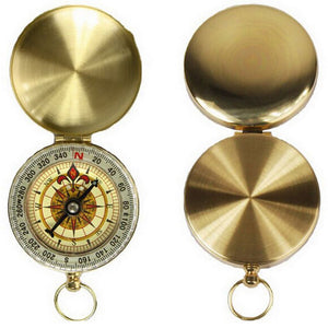 Brass Pocket Compass Navigation High Quality