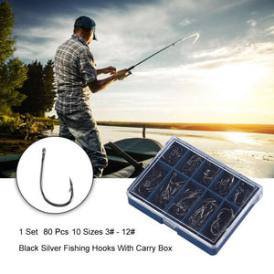 80pcs Fishing Bait Hooks 10 Sizes