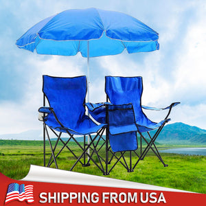 Ultralight  2-Seat Folding Chair with Removable Sun Umbrella