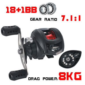 Lizard 17+1 BB Baitcasting Reel 7.2:1 High Speed Fishing  Left or Right Hand