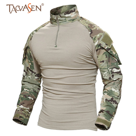 Camouflage Long Sleeve T-shirts Men Outdoor Fishing