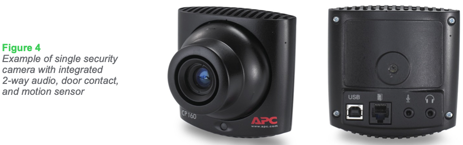 Figure 4 Example of single security camera with integrated 2-way audio, door contact, and motion sensor
