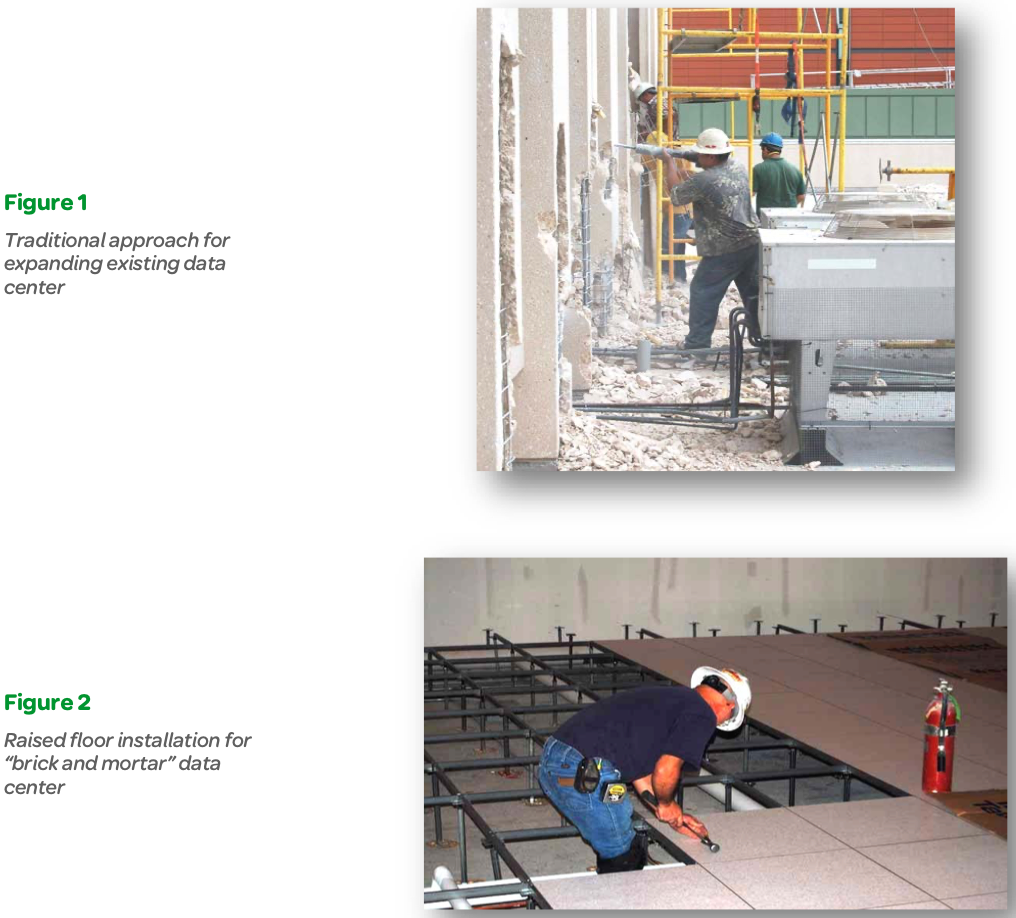 """Figure 1 Traditional approach for expanding existing data center, Figure 2 Raised floor installation for """"brick and mortar"""" data center"""