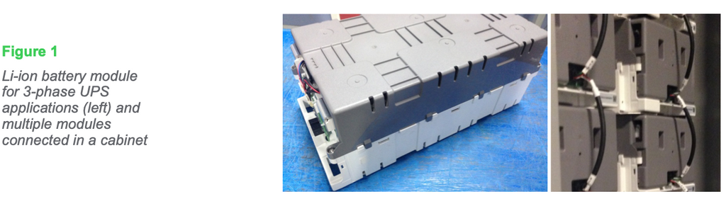 Figure 1: Li-ion battery module for 3-phase UPS applications (left) and multiple modules connected in a cabinet