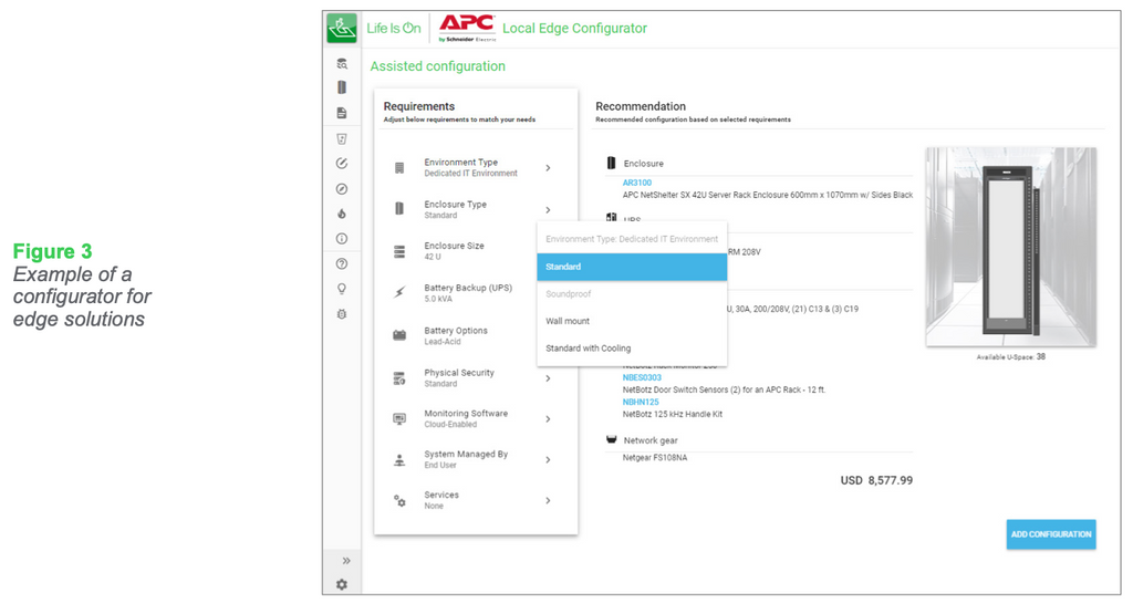 Figure 3: Example of a configurator for edge solutions