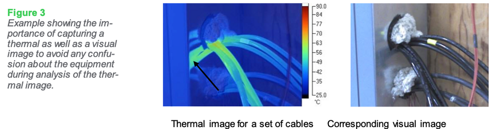 Figure 3: Example showing the importance of capturing a thermal as well as a visual image to avoid any confusion about the equipment during analysis of the thermal image.