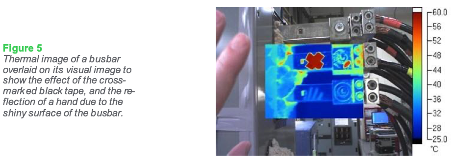 Figure 5: Thermal image of a busbar overlaid on its visual image to show the effect of the cross- marked black tape, and the reflection of a hand due to the shiny surface of the busbar.