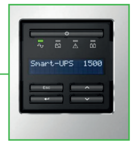 Image of a LCD interface on an APC Smart-UPS display