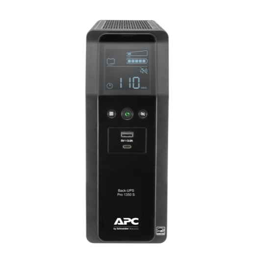 APC BR1350MS Back UPS PRO BR 1350VA, SineWave, 10 Outlets, 2 USB Charging Ports, AVR, LCD Interface