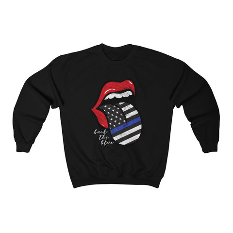 Police Blue Line Back the Blue Flag Tongue Out Distressed Unisex Sweatshirt