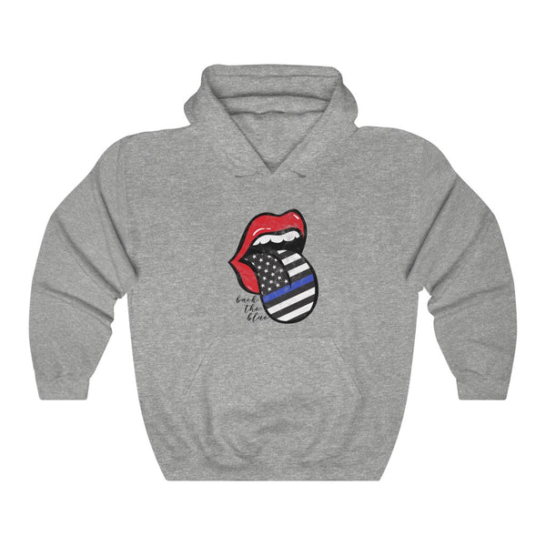 Red Lips Police Flag Tongue Out Back The Blue Hooded Sweatshirt