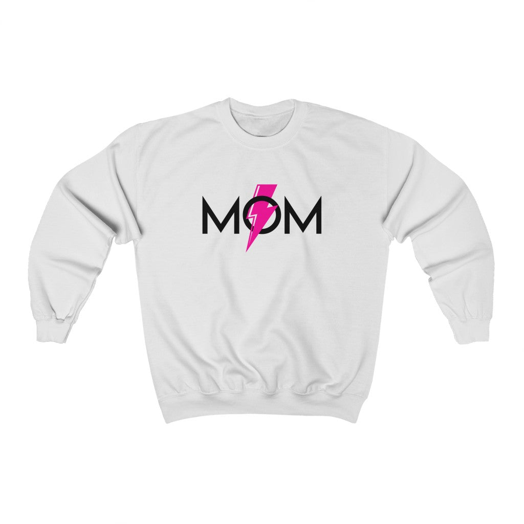 Mom Pink Lightning Bolt Unisex Crewneck Sweatshirt