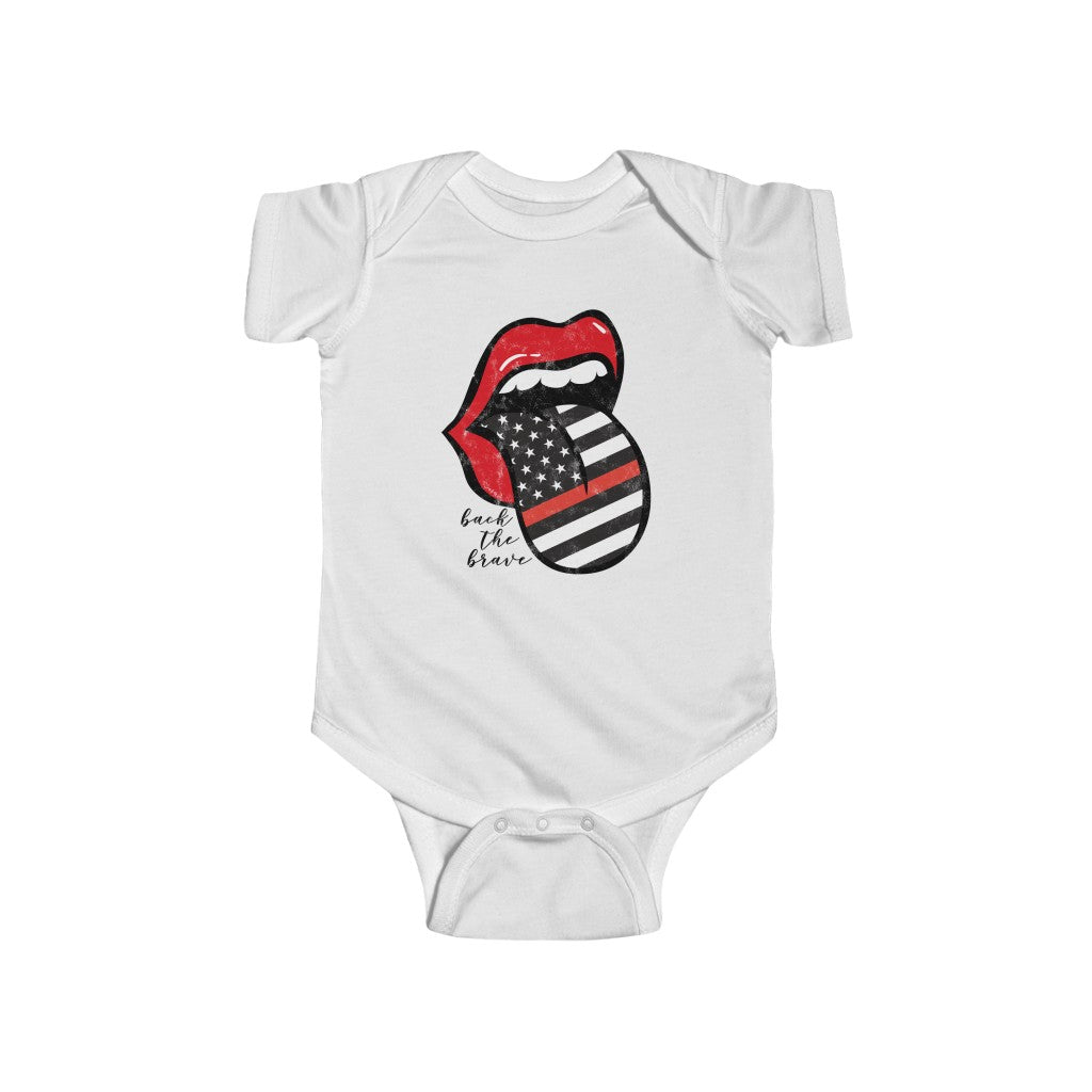 Baby - Firefighter Flag Back the Brave Tongue Out Distressed Onesie Infant Rip Snap Tee