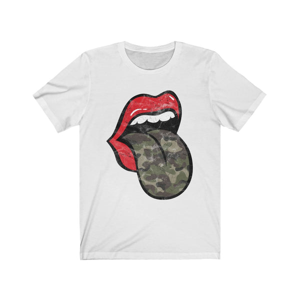 Red Lips Camo Tongue Out Short Sleeve Tee