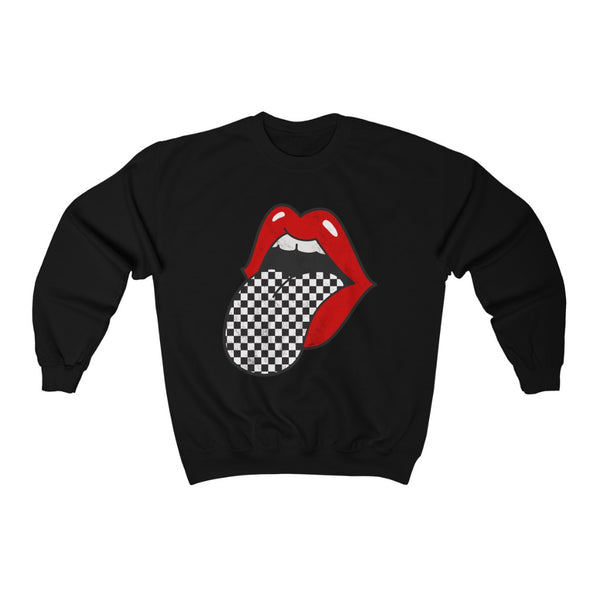 Red Lips Checkered Tongue Out Distressed Unisex Crewneck Sweatshirt