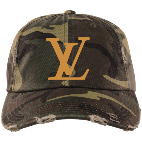 LV Gold Designer Inspired Distressed Hat