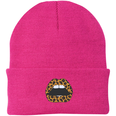 Leopard Lips Knit Hat