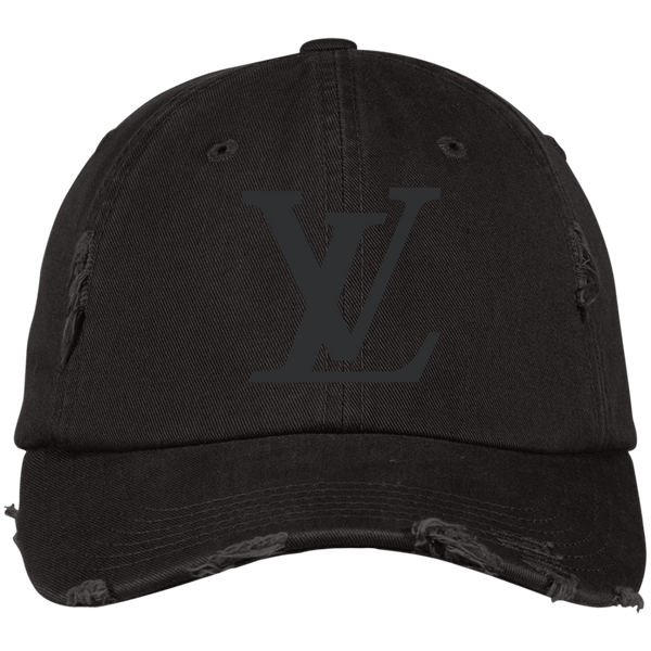 LV Black Designer Inspired Distressed Hat