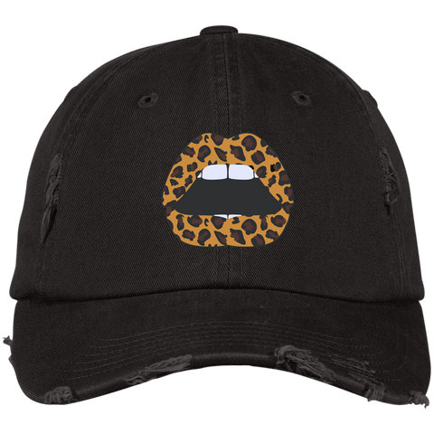 Leopard Lips Embroidered Distressed Hat