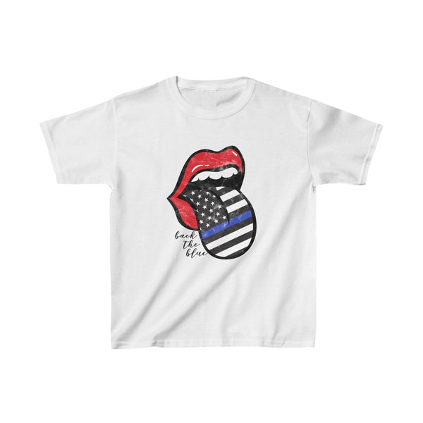 Youth - Police Flag Tongue Back the Blue Kids Tee