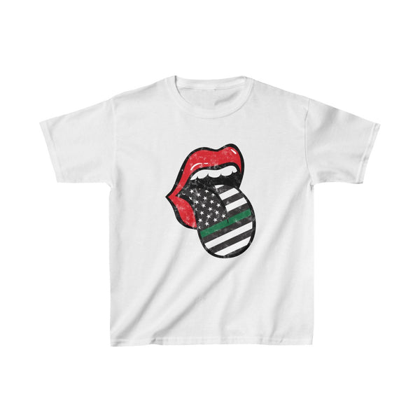 Youth - Military Flag Tongue Support The Troops Kids Tee