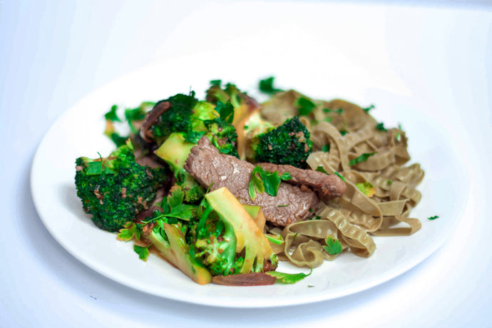 Beef and Broccoli with Edamame Pasta