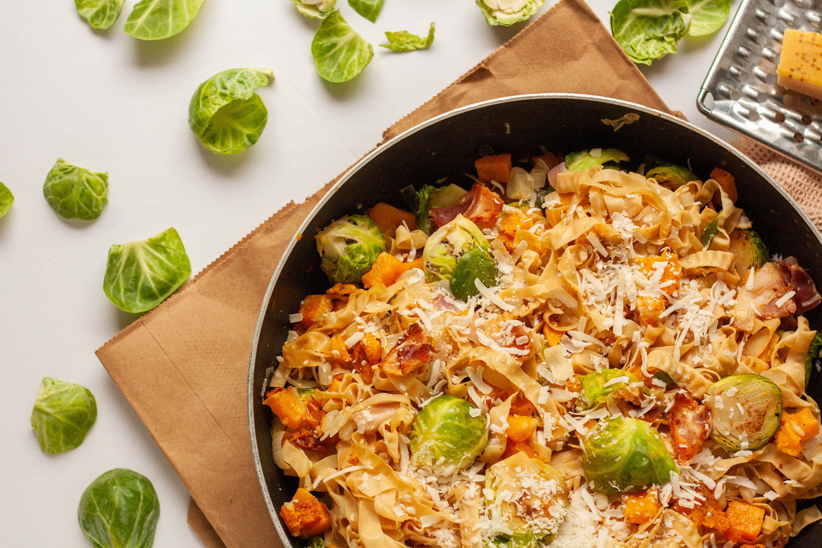 Butternut Bacon Brussels Sprout Pasta