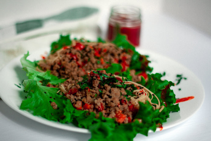Spicy Pork Lettuce Wraps featuring Soybean Spaghetti