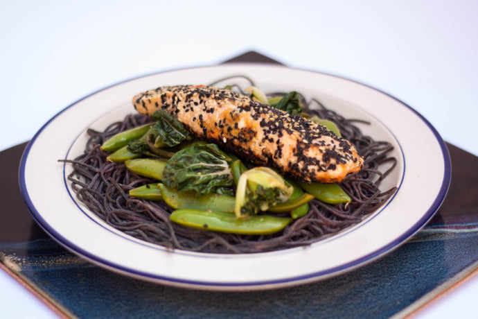 Seared Salmon on Black Bean Pasta