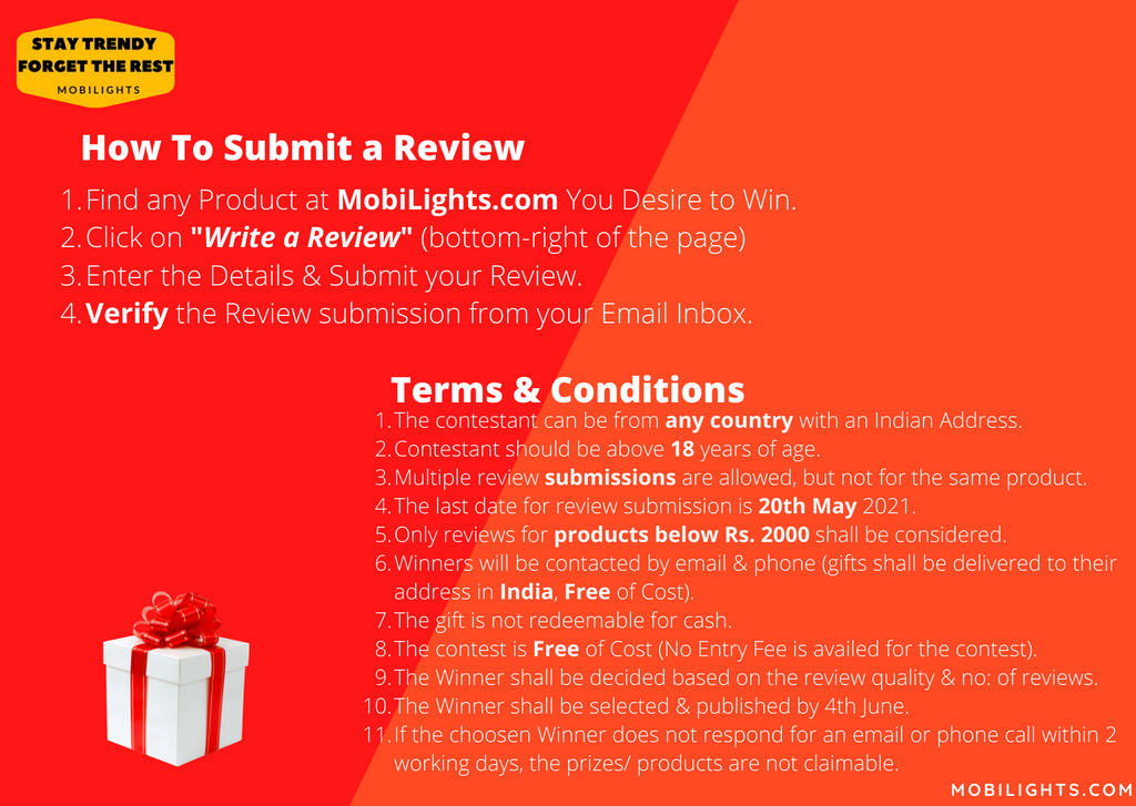 Review Writing Contest Terms & Conditions - April - MobiLights