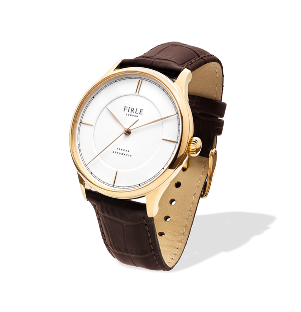 white and gold mens dress watch