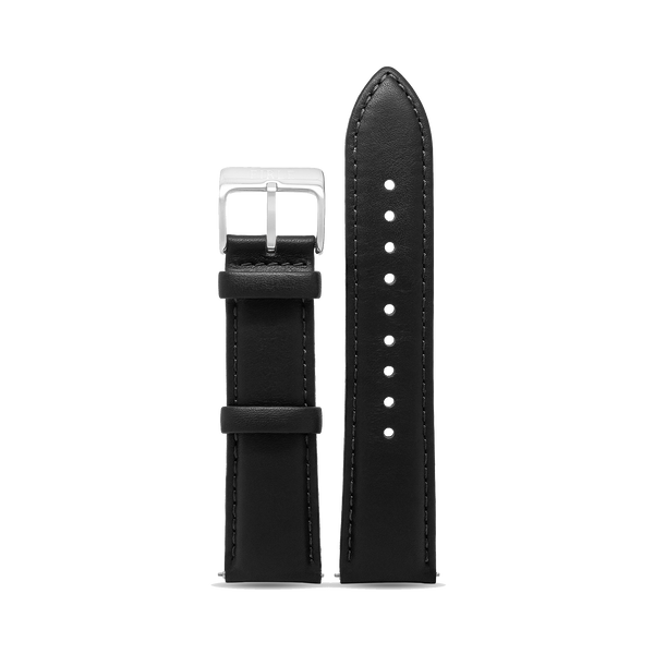 BLACK SMOOTH CALFSKIN - PIN BUCKLE - Firle Watches
