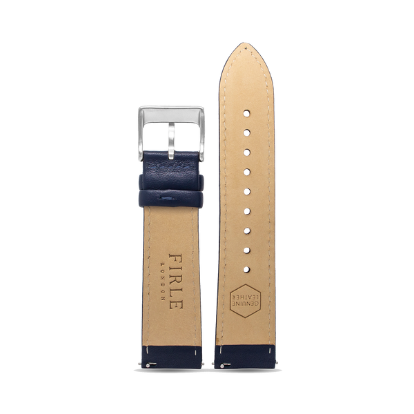 NAVY SMOOTH CALFSKIN - PIN BUCKLE - Firle Watches