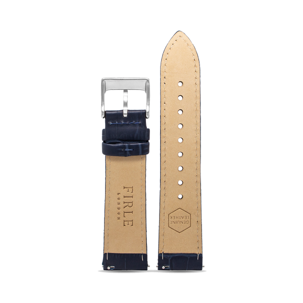 NAVY FAUX CROCODILE - PIN BUCKLE - Firle Watches