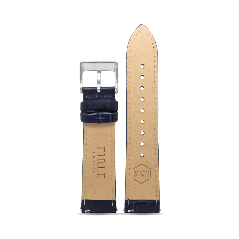NAVY FAUX CROCODILE - PIN BUCKLE